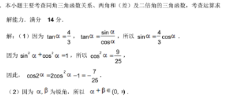 已知α,β为锐角,tanα=4/3,cos(α+β)=-√5/5(1)求cos2α的值 (2)求tan(a-β)的值