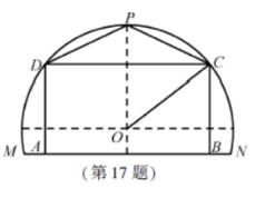 某农场有一块农田,如图所示,它的边界由园O的一段圆弧MPN(P为此圆弧的中点)和线段MN构成.已知圆O的半径为40米,点P到MN的距离为50米。现规划在此农田上修建两个温室大棚,大棚I内的地块形状为矩形ABCD,大棚Ⅱ内的地块形状为△CDP,要求AB均在线段MN上,C,D均在圆弧上.设OC与MN所成的角为θ