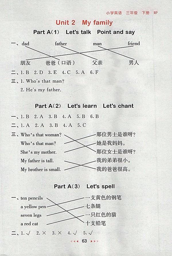 2018人教PEP版53随堂测英语小学三年级下册参考答案