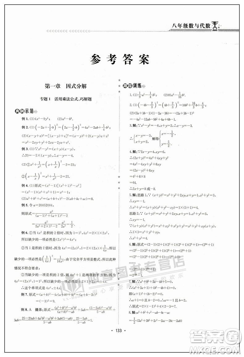 2018版启东培优微专题八年级数与代数参考答案