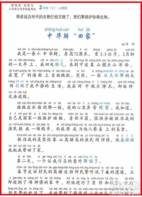 2018年小桔豆人教版小学语文同步拓展阅读二年级上册参考答案