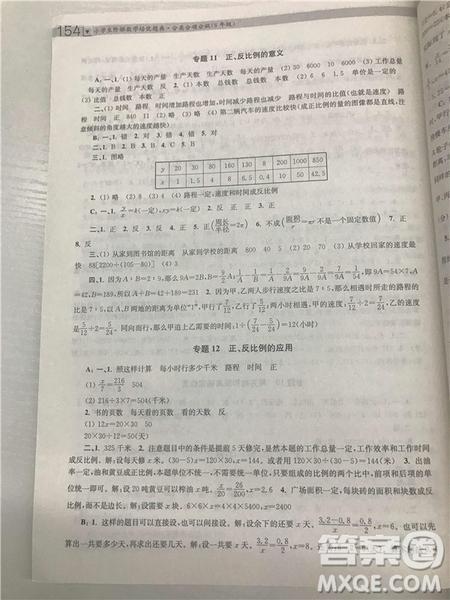 2018年南大辅教小学生阶梯数学培优题典六年级参考答案