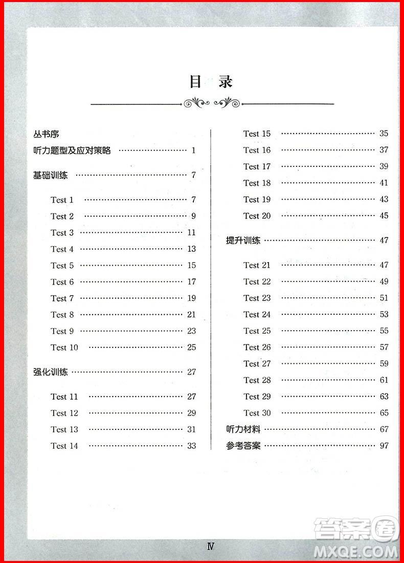 2018年锦囊妙解听力强化训练第五版七年级参考答案