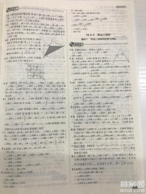 2019初中必刷题理想树八年级上册人教版数学参考答案