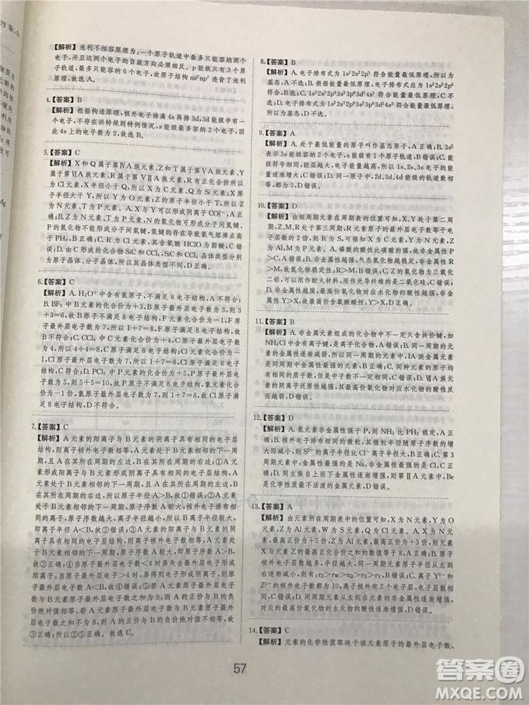 2019年爱学习高考化学刷题狗参考答案