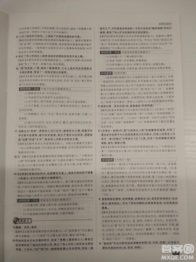 2019新版初中必刷题人教版七年级上册语文参考答案