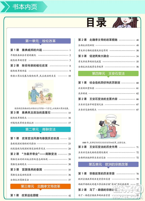 2019新版人教版高中历史选修1同学教材分层讲练参考答案