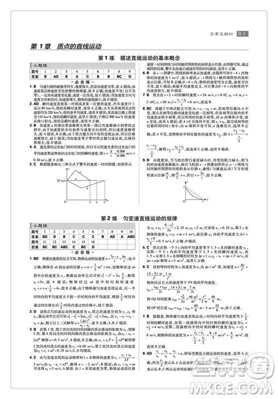 理想树67高考2019新版高考小题练透物理答案