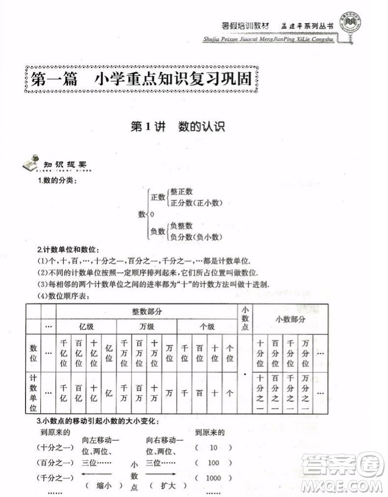孟建平小升初衔接2018暑假培训教材小升初数学答案
