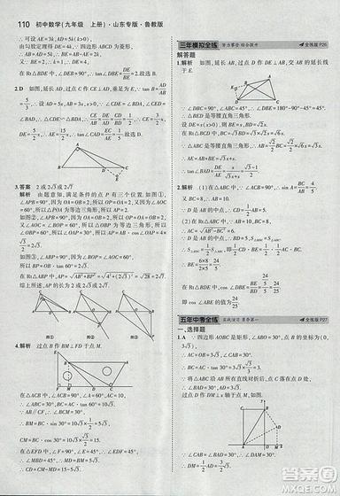 5年中考3年模拟2019版数学九年级上册鲁科版山东专版答案