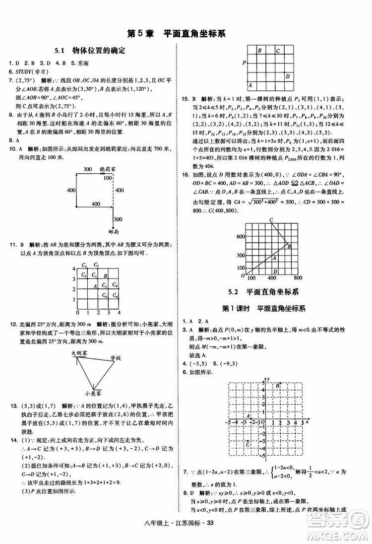 2018秋学霸题中题数学八年级上册苏科版江苏国标参考答案