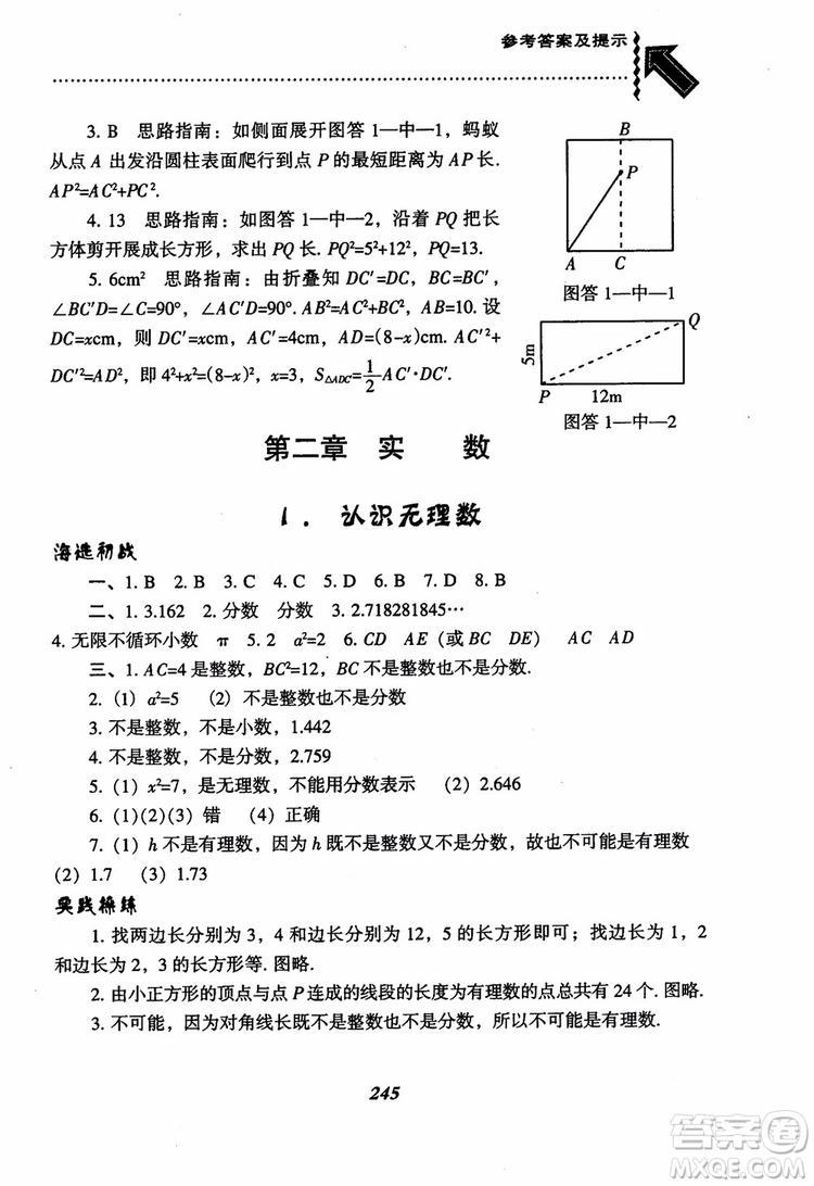 尖子生题库8年级上册数学BS北师大版2018参考答案