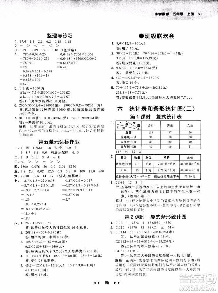 53天天练五年级数学上册SJ苏教版9787504197856参考答案