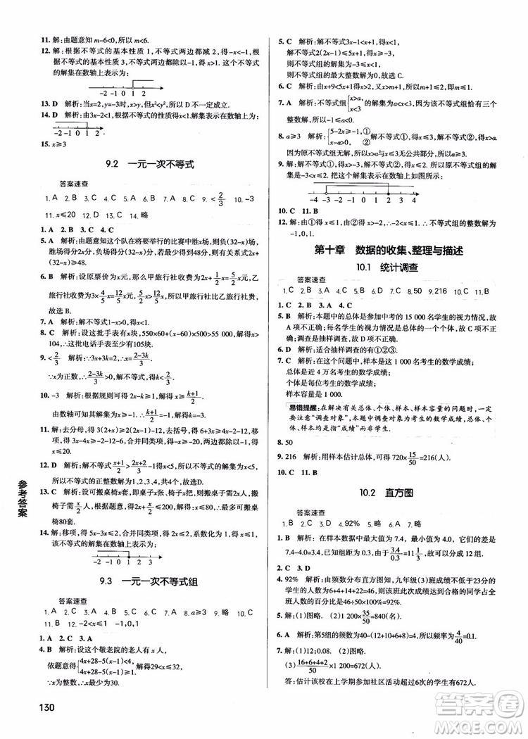 2019版学霸同步笔记七年级数学人教版RJ全一册参考答案