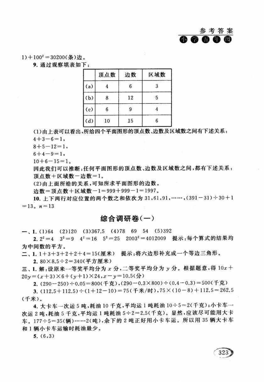 2018年人教版同步奥数培优小学生五年级参考答案