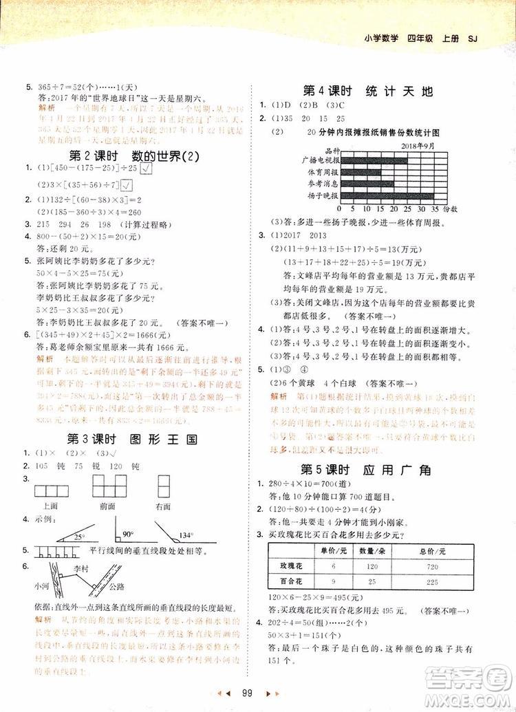 2018新版53天天练四年级上册数学苏教版SJ参考答案