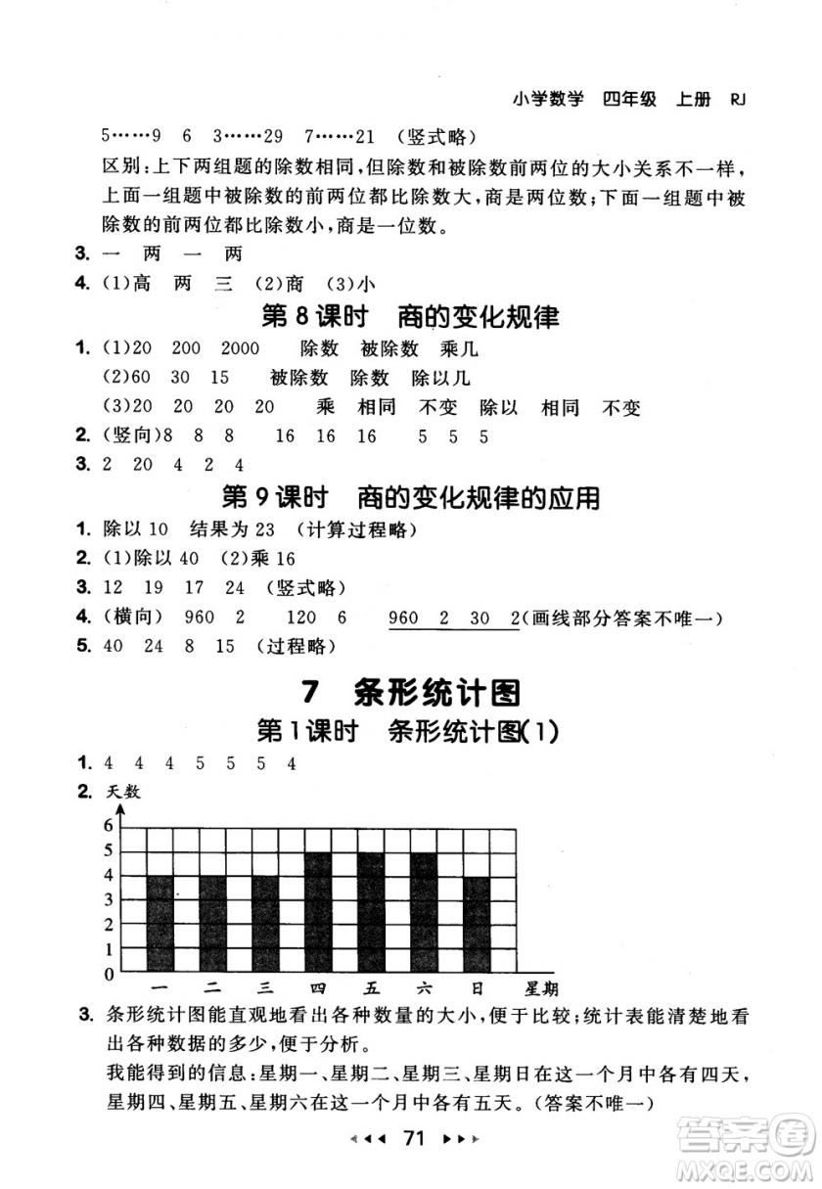 9787519104696人教版2018年53随堂测数学四年级上册RJ参考答案