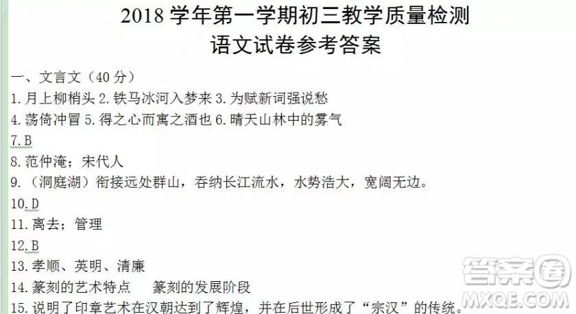 2018上海中学生报中招周刊语文第2444期4-5版答案