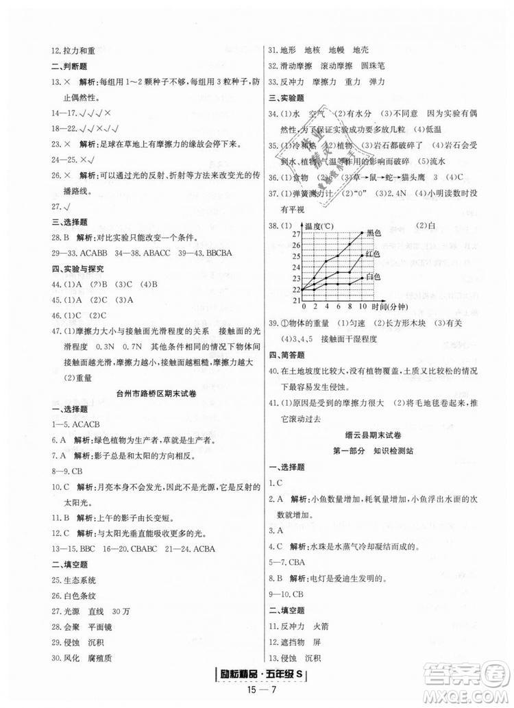 励耘书业教科版9787544965446浙江期末2018秋科学五年级上册答案