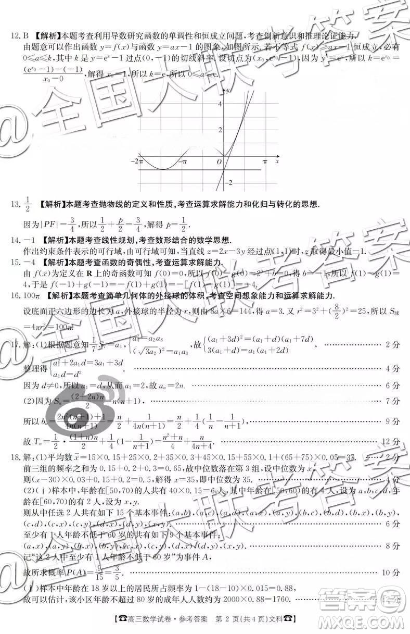 2019届高三甘肃金太阳百千联考文数参考答案