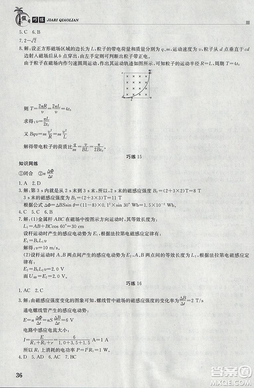 2019版假日巧练物理选修3-1选修3-2高中二年级寒假作业参考答案