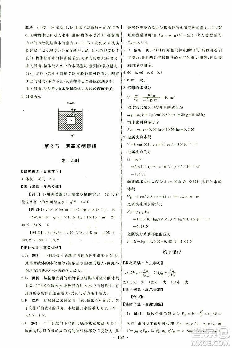 2019版天舟文化能力培养与测试八年级下册物理人教版参考答案