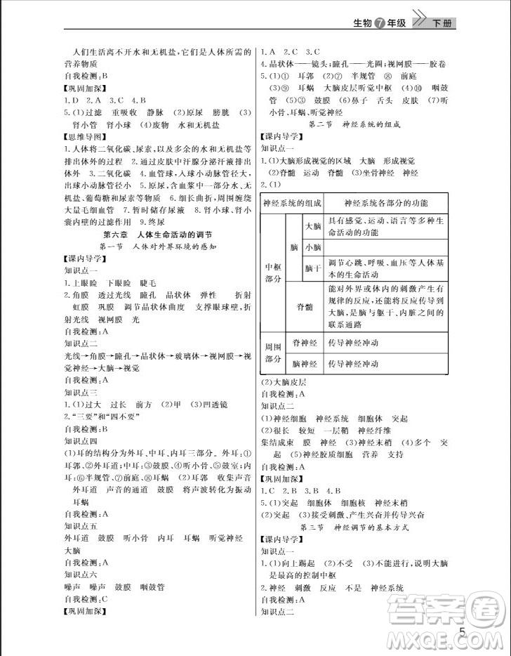 武汉出版社2019智慧学习课堂作业八年级生物下册人教版答案