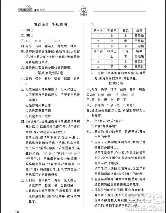 武汉出版社2019天天向上课堂作业四年级下册语文鄂教版答案