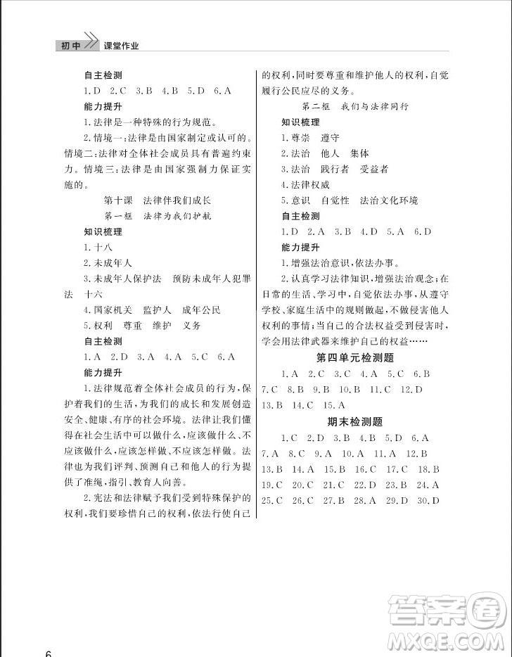 武汉出版社2019智慧学习课堂作业七年级下册道德与法治人教版答案