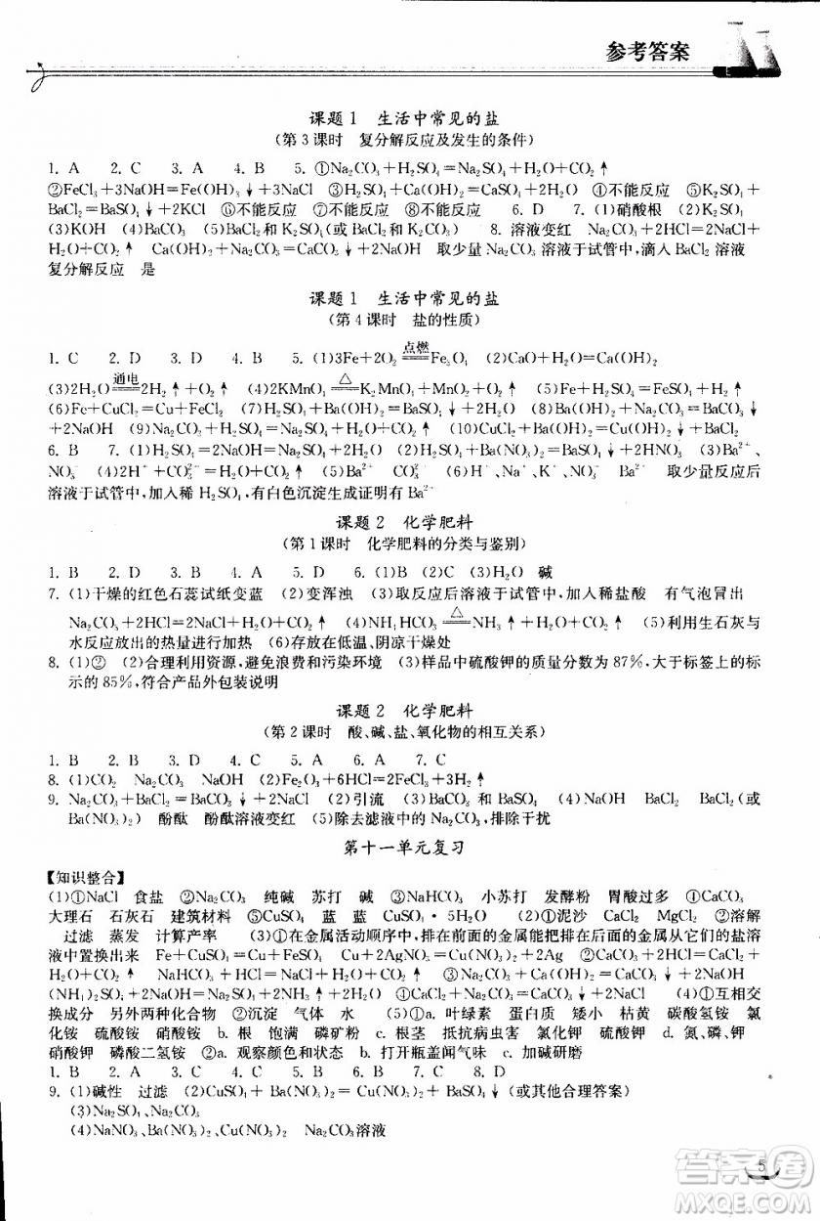 2019年长江作业本初中九年级下册化学同步练习册人教版参考答案
