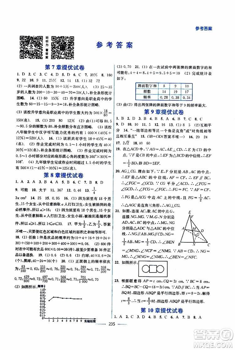 2019春八年级下册名师点拨课课通教材全解析数学江苏版参考答案