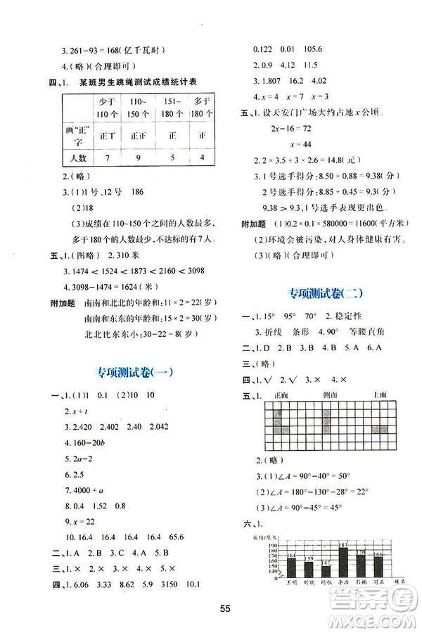 2019年春四年级数学新课程学习与评价下册C版北师大版参考答案