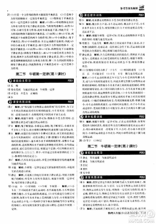 江苏科技版银版2019春1+1轻巧夺冠优化训练八年级下册物理参考答案