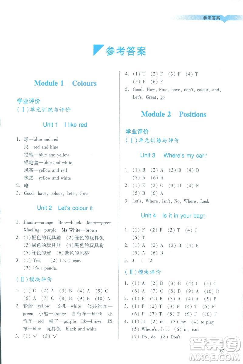 2019阳光学业评价三年级下册英语广州教科版地区专用答案