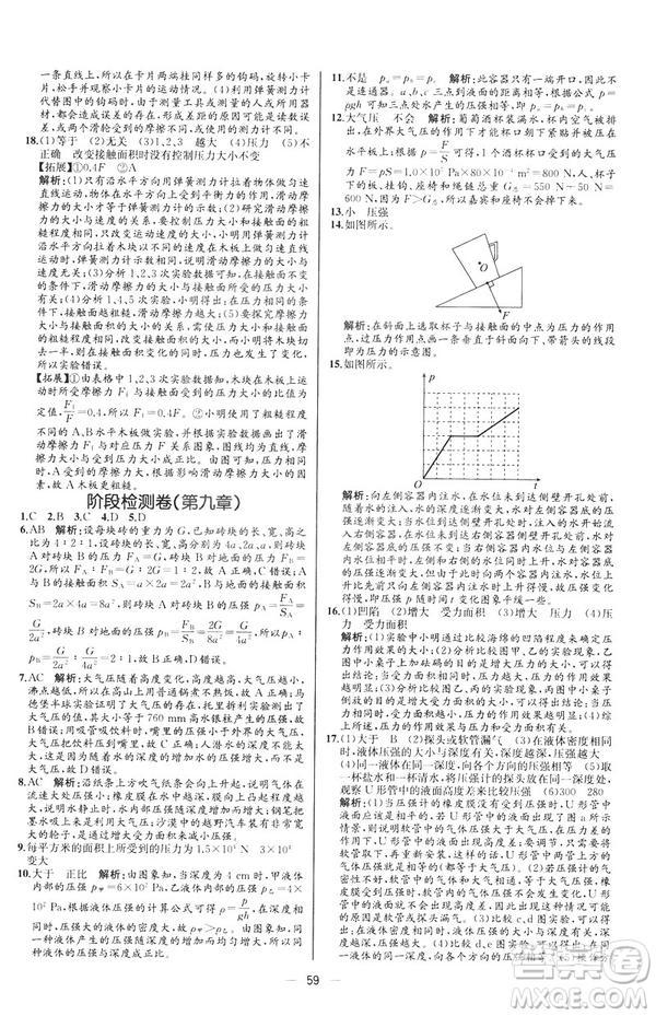 2019人教版八年级下册物理课时练同步学历案河北专版参考答案