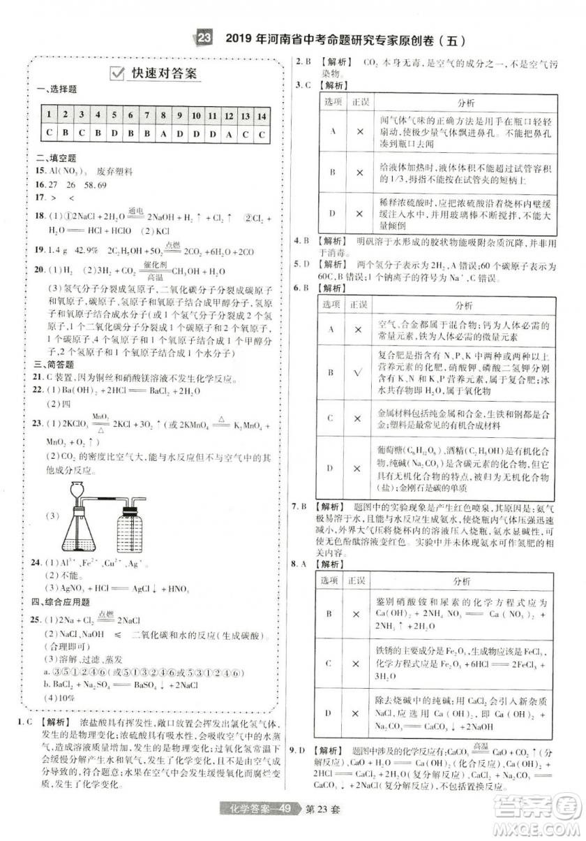 天星文化2019年河南中考45套卷金考卷特快专递化学参考答案