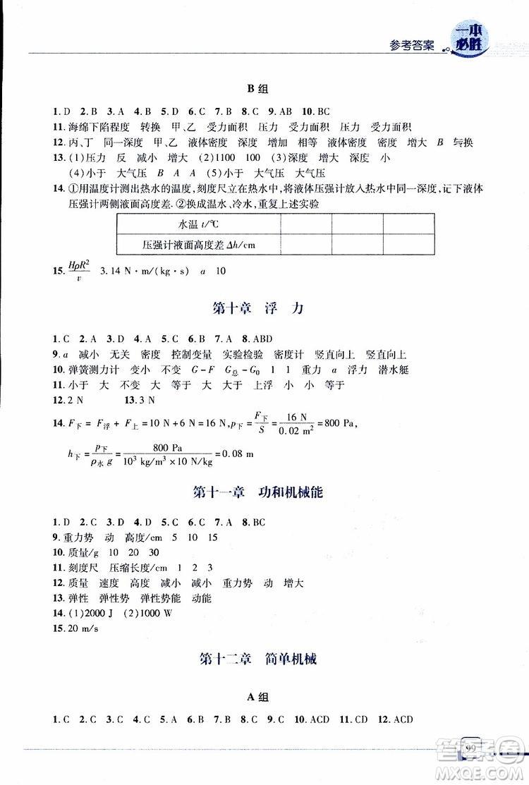 金版青岛专版2019年一本必胜中考物理总复习参考答案