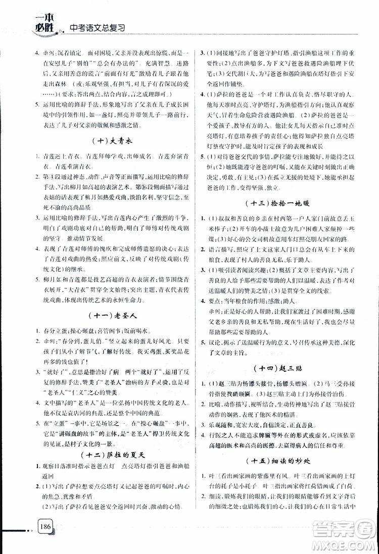 2019年一本必胜中考语文总复习金版青岛专版参考答案
